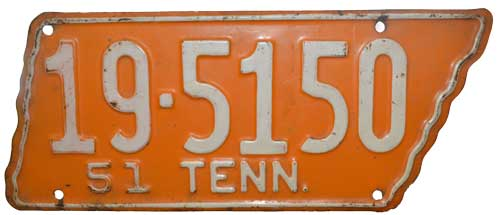 Tennessee license plate for Polk county motor vehicle registration